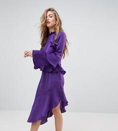 Платье с асимметричной оборкой Miss Selfridge - Фиолетовый