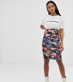 Комбинируемая юбка с цветочным принтом New Look - Черный
