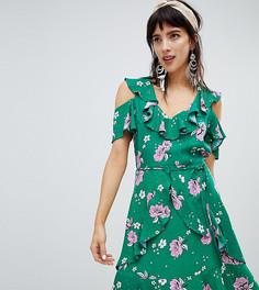 Платье с цветочным принтом и оборками River Island - Зеленый