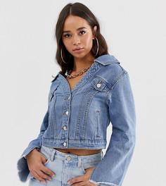 Джинсовая куртка с открытыми плечами Boohoo - Синий