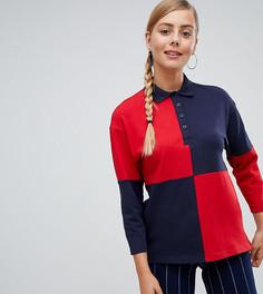 Сине-красная футболка-поло с длинными рукавами Monki - Мульти