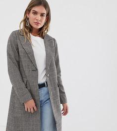 Строгое пальто в клетку New Look - Коричневый