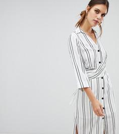 Белое платье-рубашка в полоску с запахом River Island - Кремовый