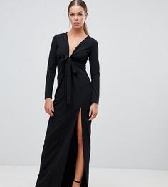 1e8eb350e13 Черное платье макси с глубоким вырезом и завязкой Boohoo - Черный