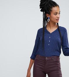 Темно-синяя блузка в горошек на пуговицах Esprit - Темно-синий
