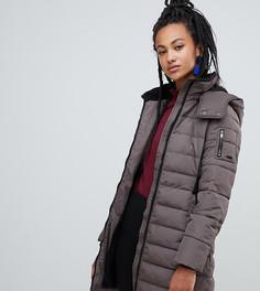 Серо-коричневая дутая куртка с капюшоном Esprit - Коричневый