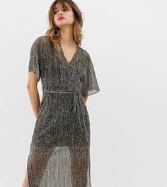 Плиссированное платье-футболка металлик со звериным принтом и поясом River Island - Мульти