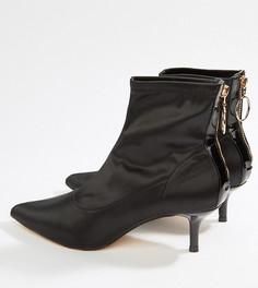 Ботинки на каблуке-рюмочке с острым носком и молниями Miss Selfridge - Черный