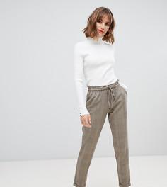 Серо-коричневые брюки в клетку со шнурком Esprit - Коричневый