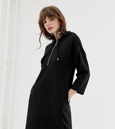 Черное платье-свитшот с капюшоном Monki - Черный