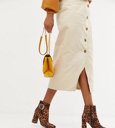 Ботинки на каблуке с леопардовым принтом и пряжками New Look - Светло-бежевый