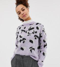 Фиолетовый пушистый джемпер со звериным узором New Look - Фиолетовый
