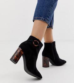 Черные ботинки на каблуке для широкой стопы New Look - Черный