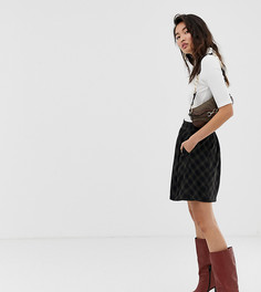 Коричневая юбка-трапеция мини в клетку Esprit - Коричневый