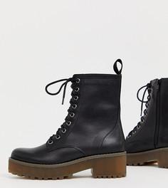Черные ботинки на шнуровке Monki - Черный