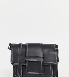 b57acc80f9f2 Черная сумка через плечо с контрастными строчками New Look - Черный