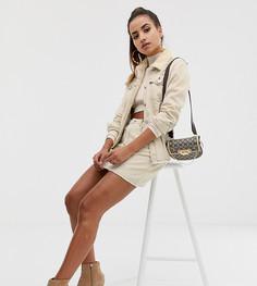 Светло-бежевая комбинируемая джинсовая юбка-трапеция с контрастной строчкой Missguided - Белый
