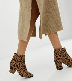 Ботинки на блочном каблуке с гепардовым принтом New Look - Коричневый