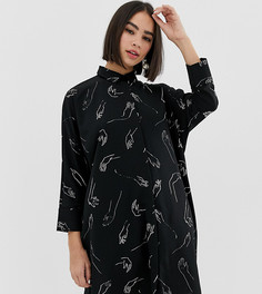 Черное платье-рубашка в стиле oversize с принтом Monki - Черный