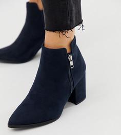 Темно-синие ботинки для широкой стопы из полиуретана на каблуке с острым носом New Look - Темно-синий