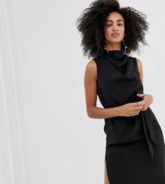 Черное платье миди с драпировкой River Island - Черный