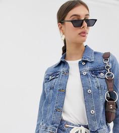 Выбеленная приталенная джинсовая куртка River Island - Синий