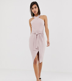 Светло-розовое платье миди с запахом спереди и халтером Lavish Alice - Розовый