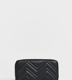 Черный стеганый кошелек на молнии New Look - Черный