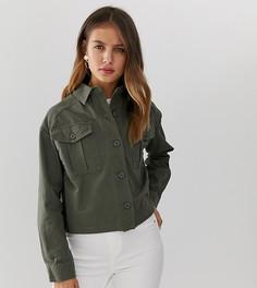 Укороченная куртка-рубашка цвета хаки в стиле милитари New Look - Зеленый