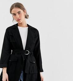 Черная куртка-рубашка с поясом New Look - Черный