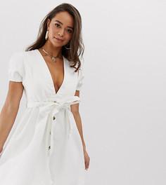 Белое джинсовое платье с V-образным вырезом и объемными рукавами Boohoo - Кремовый