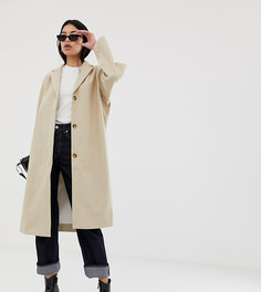 Бежевое пальто из ткани с добавлением льна Weekday - Бежевый