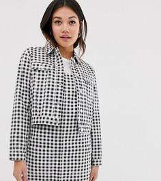 Укороченная куртка в клеточку Miss Selfridge - Черный