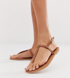 Светло-коричневые кожаные сандалии Boohoo - Рыжий
