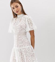 Розово-белое платье мини с кружевом и рукавами клеш Forever New - Розовый