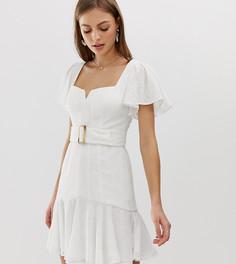 Платье миди цвета слоновой кости с вышивкой и ремнем Forever New - Розовый