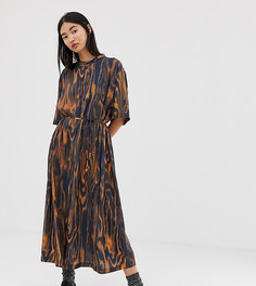 Платье миди с принтом и поясом Weekday - Мульти