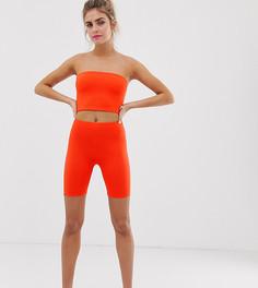 Неоново-оранжевые леггинсы-шорты Bershka x PANTONE - Оранжевый