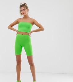 Неоново-зеленые леггинсы-шорты Bershka x PANTONE - Зеленый