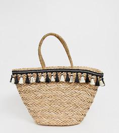 Пляжная плетеная сумка с кисточками Missguided - Коричневый