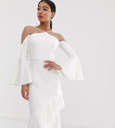 Белое платье миди с прозрачными вставками и оборкой по нижнему краю Yaura - Белый