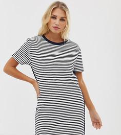 Белое/темно-синее трикотажное платье-футболка в полоску Esprit - Мульти