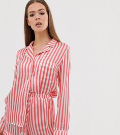 Красная пижама в полоску (рубашка с длинными рукавами и шорты) Missguided - Красный