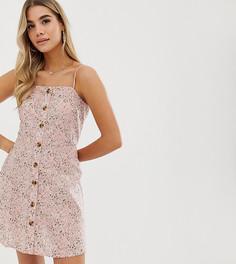 Розовое платье мини на бретельках с цветочным принтом PrettyLittleThing - Розовый