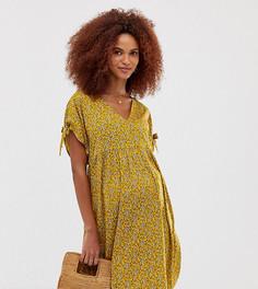 Свободное желтое платье с завязками на рукавах New Look Maternity - Желтый