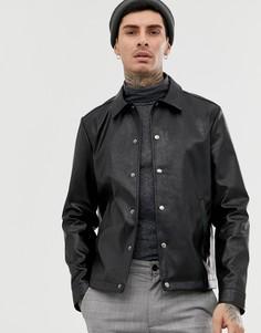 Черная спортивная куртка из искусственной кожи ASOS DESIGN - Черный