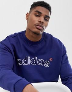 adidas originals sweatshirt with vintage embroidered logo in navy FH7905 - Темно-синий