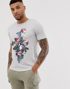 Светло-серая футболка с принтом HUGO - Droses - Серый