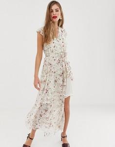 Платье макси с цветочным принтом и поясом Y.A.S Vigga - Розовый