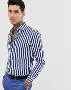 Хлопковая приталенная рубашка в полоску с длинными рукавами Devils Advocate - Темно-синий
